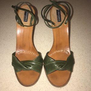 """Casadei Ankle Strap 4"""" Heels Dark Green Size 6"""